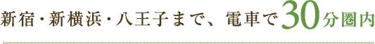 新宿・新横浜・八王子まで、電車で30分圏内